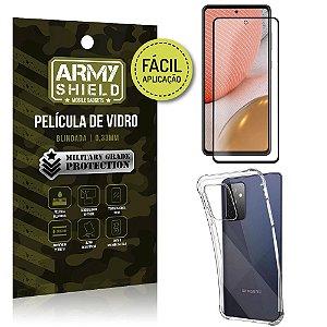 Kit Película 3D Fácil Aplicação Galaxy A72 Película 3D + Capa Anti Impacto - Armyshield