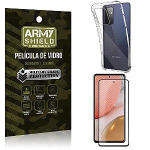 Kit Anti Impacto Galaxy A72 Capinha Anti Impacto + Película de Vidro 3D - Armyshield