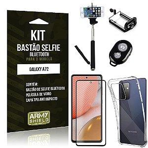 Kit Bastão de Selfie Bluetooth Galaxy A72 +Capinha Anti Impacto +Película Vidro 3D - Armyshield