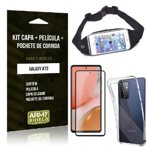 Kit Pochete Galaxy A72 Pochete + Capinha Anti Impacto + Película de Vidro 3D - Armyshield