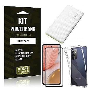 Kit Carregador Portátil 5K Tipo C Galaxy A72 + Capa Anti Impacto +Película Vidro 3D -Armyshield