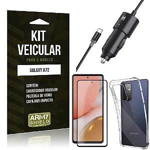 Kit Carregador Veicular Tipo C Galaxy A72 + Capa Anti Impacto + Película Vidro 3D - Armyshield
