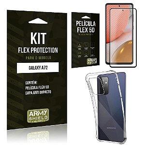 Kit Flex Protection Galaxy A72 Capa Anti Impacto + Película Flex 5D - Armyshield