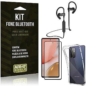 Kit Fone Bluetooth HS188 Galaxy A72 + Capa Anti Impacto + Película Vidro 3D - Armyshield