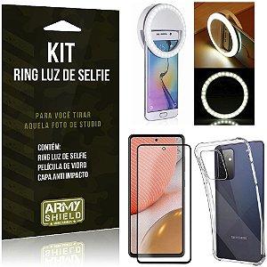 Kit Flash Ring Galaxy A72 Flash Ring + Capa Anti Impacto + Película de Vidro 3D - Armyshield