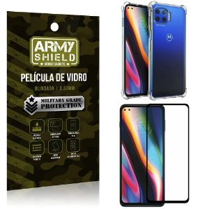 Kit Anti Impacto Moto G 5G Plus Capinha Anti Impacto + Película de Vidro 3D - Armyshield