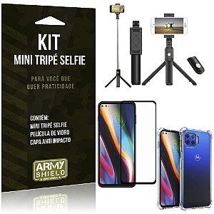 """Kit Bastão Selfie Bluetooth com Tripé para Moto G 5G Plus 6,7"""" + Capa + Película 3D"""