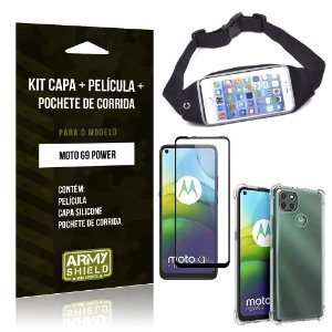 Kit Pochete Moto G9 Power Pochete + Capinha Anti Impacto + Película de Vidro 3D - Armyshield