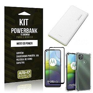 Kit Carregador Portátil 10K Tipo C Moto G9 Power +Capa Anti Impacto +Película Vidro 3D -Armyshield