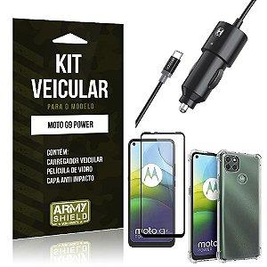 Kit Carregador Veicular Tipo C Moto G9 Power + Capa Anti Impacto + Película Vidro 3D - Armyshield