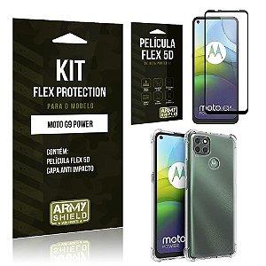 Kit Flex Protection Moto G9 Power Capa Anti Impacto + Película Flex 5D - Armyshield