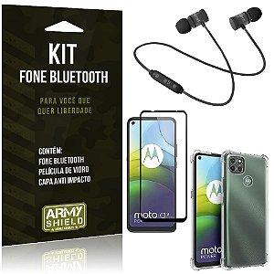 Kit Fone Bluetooth KD901 Moto G9 Power + Capa Anti Impacto + Película Vidro 3D - Armyshield