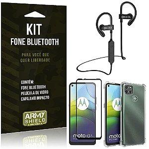 Kit Fone Bluetooth HS188 Moto G9 Power + Capa Anti Impacto + Película Vidro 3D - Armyshield