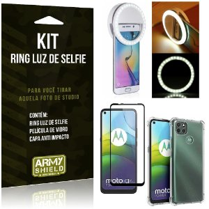 Kit Flash Ring Moto G9 Power Flash Ring + Capa Anti Impacto + Película de Vidro 3D - Armyshield