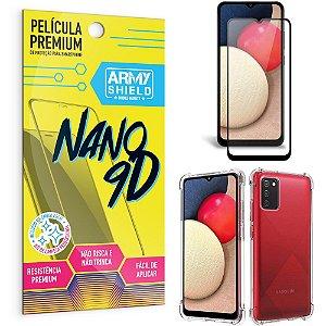 Kit Película Premium Nano 9D para Galaxy A02S + Capa Anti Impacto - Armyshield