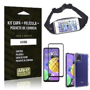 Kit Pochete LG K62 Pochete + Capinha Anti Impacto + Película de Vidro 3D - Armyshield