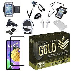 Kit Gold LG K62 com 6 Acessórios + Capinha + Pelicula 3D - Armyshield