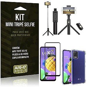 "Kit Mini Tripé Selfie Bluetooth para LG K62 6,6"" + Capa + Película 3D"