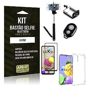 Kit Bastão de Selfie Bluetooth LG K52 +Capinha Anti Impacto +Película Vidro 3D - Armyshield