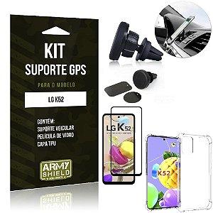 Kit Suporte Veicular Magnético LG K52 + Capa Anti Impacto +Película Vidro 3D - Armyshield