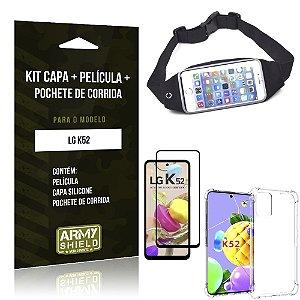 Kit Pochete LG K52 Pochete + Capinha Anti Impacto + Película de Vidro 3D - Armyshield