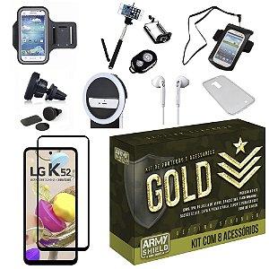 Kit Gold LG K52 com 6 Acessórios + Capinha + Pelicula 3D - Armyshield