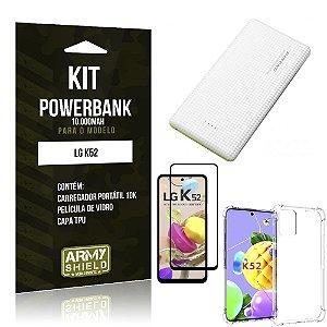 Kit Carregador Portátil 10K Tipo C LG K52 +Capa Anti Impacto +Película Vidro 3D -Armyshield