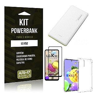 Kit Carregador Portátil 5K Tipo C LG K52 + Capa Anti Impacto +Película Vidro 3D -Armyshield
