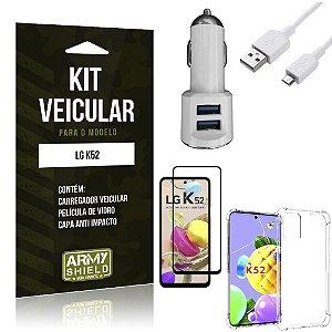 Kit Carregador Veicular Tipo C LG K52 + Capa Anti Impacto + Película Vidro 3D - Armyshield