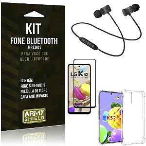 Kit Fone Bluetooth KD901 LG K52 + Capa Anti Impacto + Película Vidro 3D - Armyshield