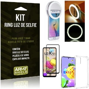 Kit Flash Ring LG K52 Flash Ring + Capa Anti Impacto + Película de Vidro 3D - Armyshield