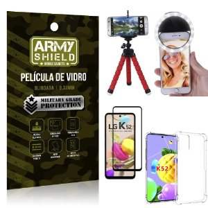 Kit Tripé Flex + Flash Ring LG K52 + Capa + Película 3D