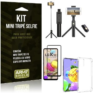 "Kit Mini Tripé Selfie Bluetooth para LG K52 6,6"" + Capa + Película 3D"