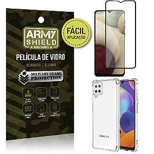 Kit Película 3D Fácil Aplicação Galaxy A12 Película 3D + Capa Anti Impacto - Armyshield