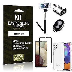 Kit Bastão de Selfie Bluetooth Galaxy A12 +Capinha Anti Impacto +Película Vidro 3D - Armyshield