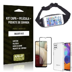 Kit Pochete Galaxy A12 Pochete + Capinha Anti Impacto + Película de Vidro 3D - Armyshield