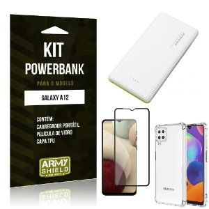 Kit Carregador Portátil 5K Tipo C Galaxy A12 + Capa Anti Impacto +Película Vidro 3D -Armyshield
