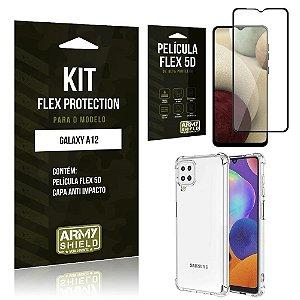 Kit Flex Protection Galaxy A12 Capa Anti Impacto + Película Flex 5D - Armyshield