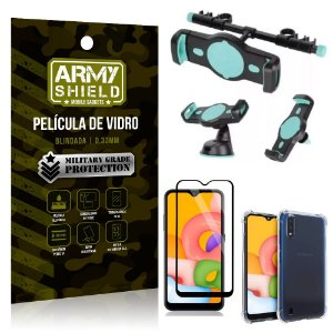Kit Suporte Veicular 3 em 1 Galaxy A01 + Película 3D + Capa Anti Impacto - Armyshield