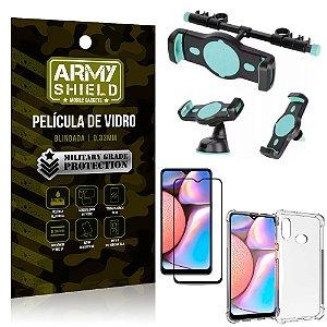 Kit Suporte Veicular 3 em 1 Galaxy A10s + Película 3D + Capa Anti Impacto - Armyshield