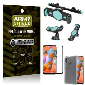 Kit Suporte Veicular 3 em 1 Galaxy A11 + Película 3D + Capa Anti Impacto - Armyshield