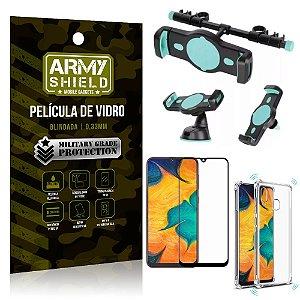 Kit Suporte Veicular 3 em 1 Galaxy A20 + Película 3D + Capa Anti Impacto - Armyshield