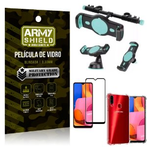 Kit Suporte Veicular 3 em 1 Galaxy A20s + Película 3D + Capa Anti Impacto - Armyshield