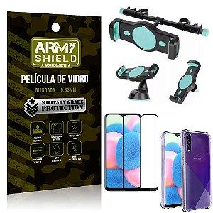 Kit Suporte Veicular 3 em 1 Galaxy A30s + Película 3D + Capa Anti Impacto - Armyshield