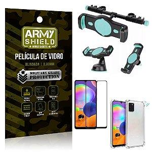 Kit Suporte Veicular 3 em 1 Galaxy A31 + Película 3D + Capa Anti Impacto - Armyshield