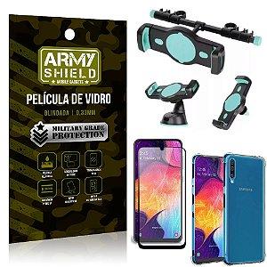 Kit Suporte Veicular 3 em 1 Galaxy A50 + Película 3D + Capa Anti Impacto - Armyshield