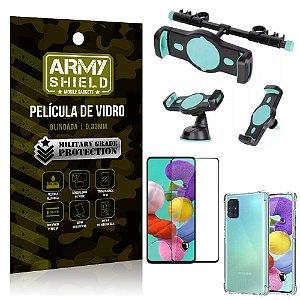 Kit Suporte Veicular 3 em 1 Galaxy A51 + Película 3D + Capa Anti Impacto - Armyshield