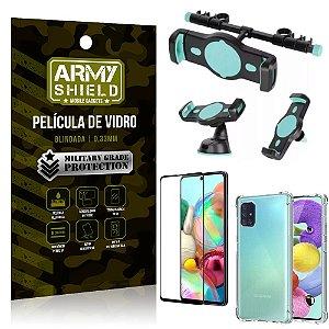 Kit Suporte Veicular 3 em 1 Galaxy A71 + Película 3D + Capa Anti Impacto - Armyshield