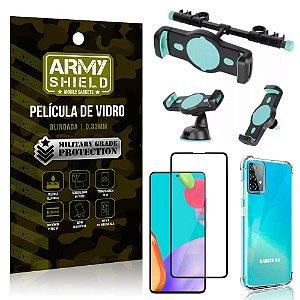 Kit Suporte Veicular 3 em 1 Galaxy A52 + Película 3D + Capa Anti Impacto - Armyshield
