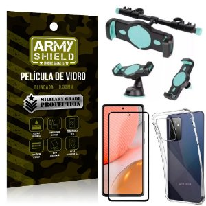 Kit Suporte Veicular 3 em 1 Galaxy A72 + Película 3D + Capa Anti Impacto - Armyshield